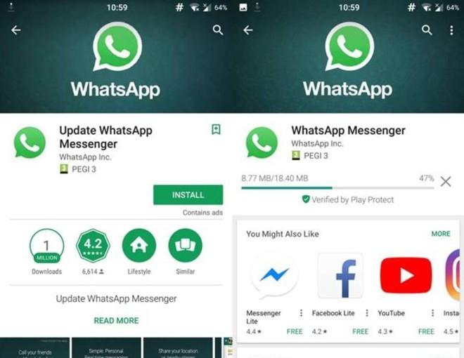 À esquerda, a versão falsa do WhatsApp que era distribuída pelo Google Play; à direita, a oficial. | Reddit/Reprodução