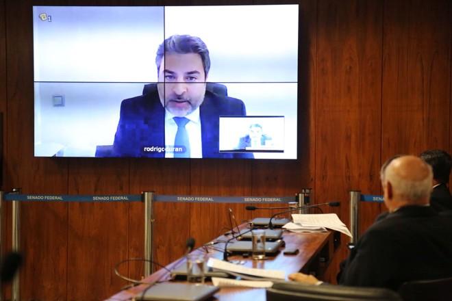 Rodrigo Tacla Duran depôs à CPI por videoconferência, da Espanha, onde mora atualmente: ele tem um mandado de prisão contra si.   Fátima Meira/Estadão Conteúdo