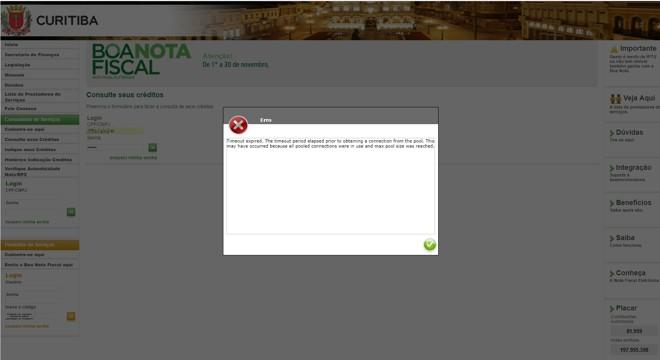 Mensagem de erro recebida na tarde desta quinta-feira (30) | Reprodução/Site da prefeitura de Curitiba