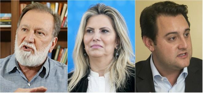 Os três principais pré-candidatos:Osmar Dias (à esq.), Cida Borghetti (ao centro)e Ratinho Jr. | Montagem: Albari Rosa e Marcelo Andrade/Gazeta do Povo
