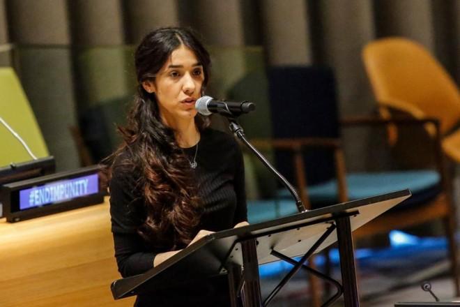Nadia Murad tornou-se a primeira Embaixadora da Boa Vontade da ONU para sobreviventes de tráfico humano, em 2016   Kena Betancur/AFP
