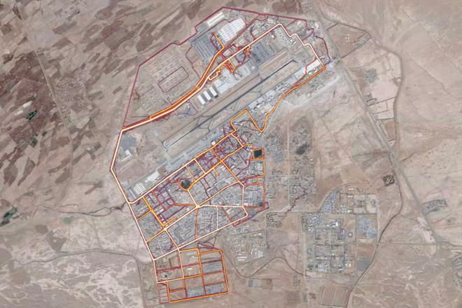 Mapa de calor de uma base no deserto. | Strava/Reprodução