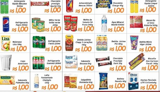 1ecb0ced10e85 Folheto de divulgação dos produtos a R$ 1 no Supermercado Ítalo.   Ítalo  Supermercados