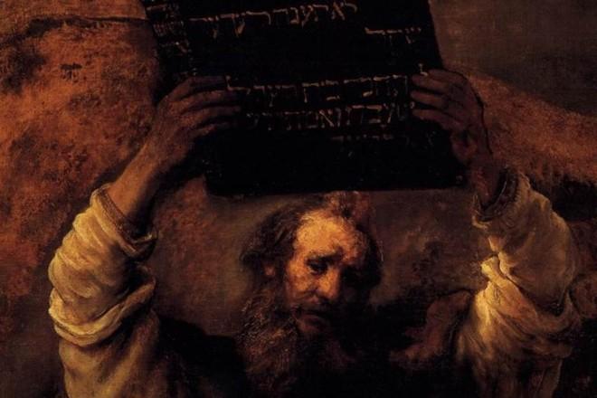 "Detalhe de ""Moisés Quebrando as Tábuas da Lei"", Rembrandt, 1659.   Wikipedia"
