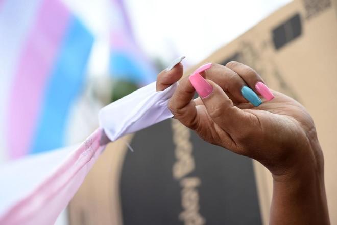 Detalhe da mão de uma manifestante com as unhas pintadas nas cores da comunidade transgênero, rosa e azul, durante a Parada Gay em Los Angeles em junho de 2017 | ROBYN BECKAFP