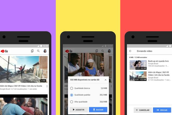 Telas do novo YouTube Go. | Google/Divulgação