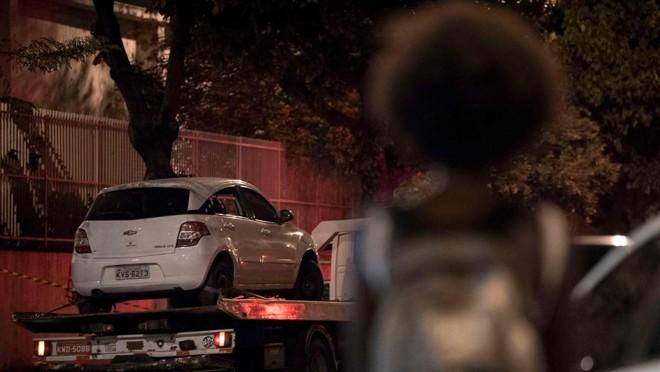 Ocarro em que estava Marielle Franco:vereadora e motorista morreram; assessora sobreviveu. | Mauro Pimentel/AFP