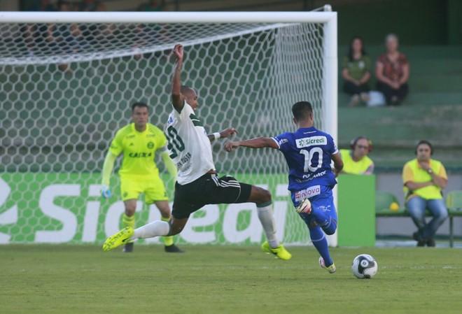 Juninho finaliza contra o gol de Wilson: Foz passou por cima do Coritiba. | /Marcelo Andrade/Gazeta do Povo