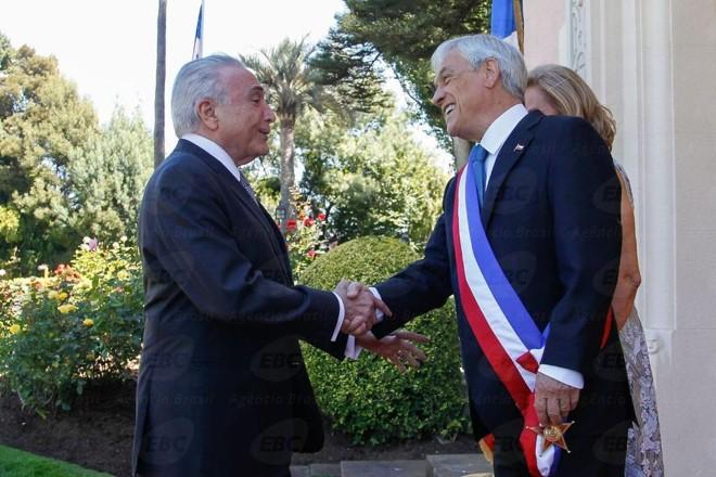 Temer com o novo presidente do Chile, Sebastián Piñera . | Beto Barata/Presidência da República