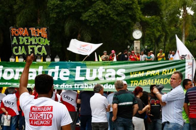 Sindicalistas participam de ato na Boca Maldita, em Curitiba. A imagem é de 2017. | Aniele Nascimento/Gazeta do Povo/Arquivo