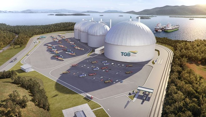 Projeção do novo porto graneleiro que será erguido na Baía da Babitonga, em São Francisco do Sul | Divulgação/