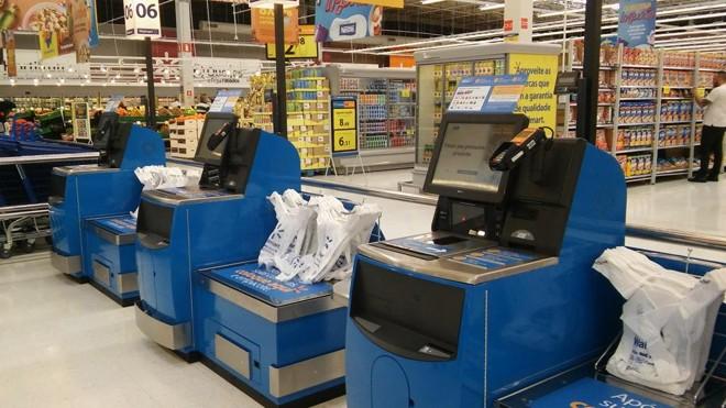A primeira loja do Walmart a receber a opção de self-checkout foi o hipermercado no Tamboré, em Alphaville , em São Paulo   Walmart/Divulgação