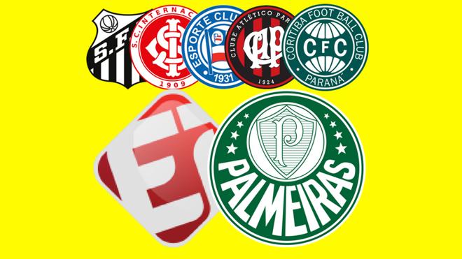 Santos, Internacional, Bahia, Atlético-PR e Coritiba são os clubes envolvidos no polêmico contrato com o Esporte Interativo. | /