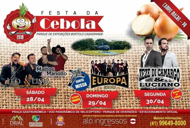 Apesar de ser um evento particular, show de Zezé di Camargo & Luciano eram anunciados como parte da programação da Festa da Cebola.   Reprodução/Facebook Drial