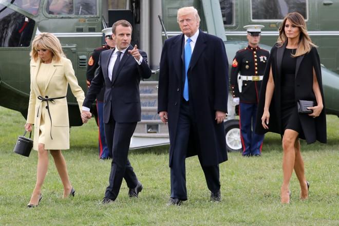 O presidente francês, EmmanuelMacron com Donald Trump: interesses em comum   LUDOVIC MARIN/AFP