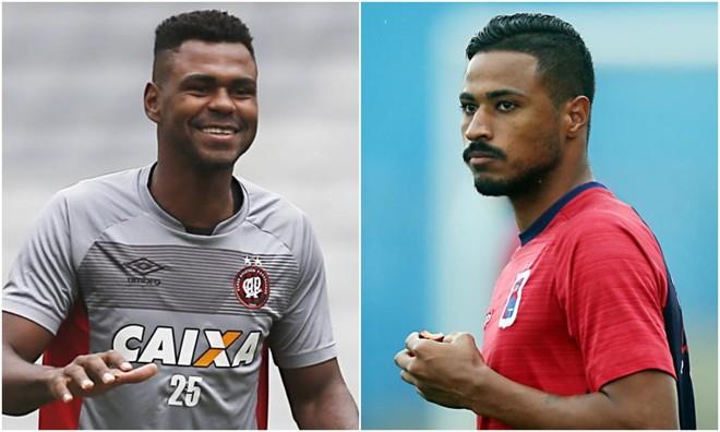 O zagueiro Wanderson, do Atlético, e o atacante Diego, do Paraná.   Fotos: Arquivo/Gazeta do Povo/