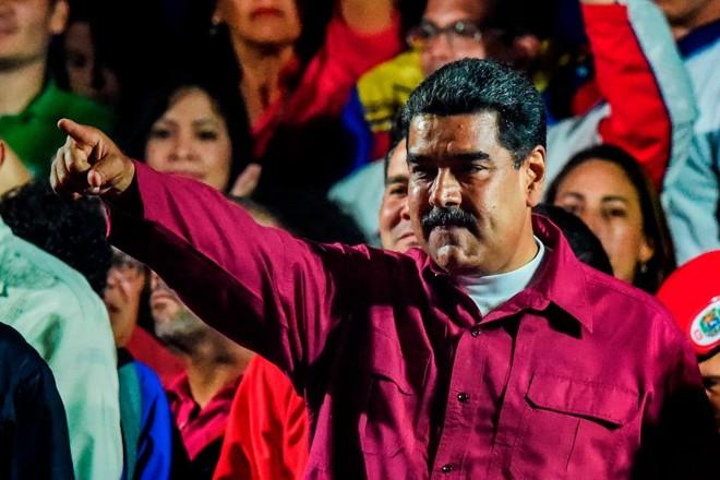 Ditador Nicolás Maduro comemora vitória nas eleições, após anúncio do CNE, em 20 de maio de 2018 | JUAN BARRETOAFP