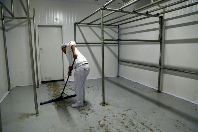 Câmera frigorífica vazia de um supermercado de Curitiba nesta sexta-feira. | Aniele Nascimento/Gazeta do Povo