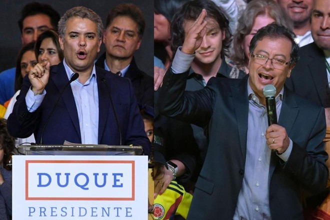 Os dois candidatos à presidente que disputarão o segundo turno: Iván Duque e Gustavo Petro | Luis Acosta / Raul ArboledaAFP PHOTO