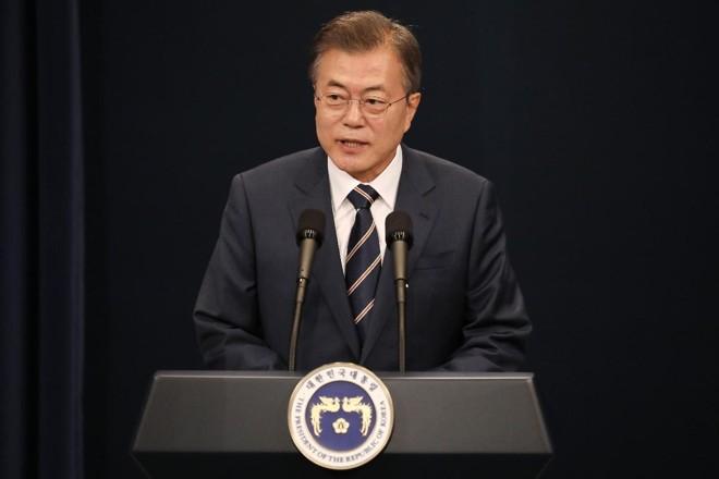 Presidente da Coreia do Sul, Moon Jae-in, se encontrou com o ditador Kim Jong-un no sábado e disse estar otimista quanto à cúpula entre EUA e Coreia do Norte | SeongJoon ChoBloomberg