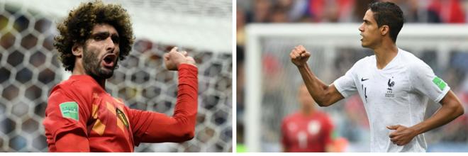 Obelga Fellaini (esq) e o francês Varane (dir): atletas reforcam legião estrangeira da Copa do Mundo 2018 | /
