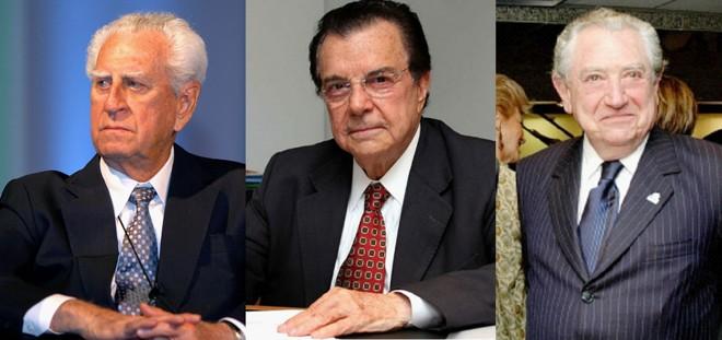 Antônio Oliveira Santos (CNC) está na presidência da CNC há 38 anos, Fábio de Salles Meirelles  comanda a Faesp há 43 e Abram Szajman  lidera a Federação do Comércio de SP há 34. | Divulgação