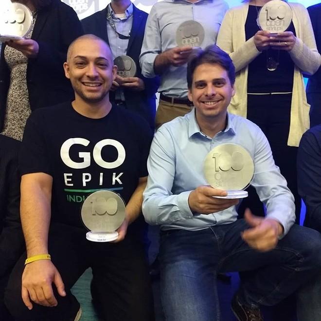 A paranaense GoEpik ficou em primeiro na categoria indústria. Na foto, à esquerda, Wellington Moscon, sócio-fundador da startup. | Divulgação/