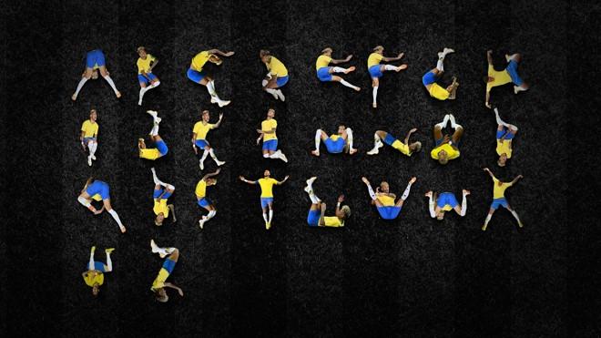 O alfabeto formado pelas quedas de Neymar, idealizado pelo publicitário curitibano Luciano Jacob | Reprodução/Facebook