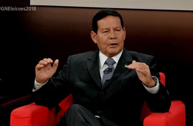 General Hamilton Mourão durante entrevista à GloboNews, na sexta-feira (7). | Reprodução