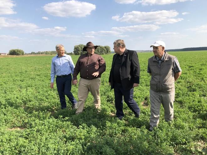 Leon du Toit, seu filho Johannes du Toit, Vladimir Poluboyarenko e Mikhail Baranov: agricultores brancos sul-africanos estão sendo incentivados a se mudar para a Rússia.   Amie Ferris-Rotman/The Washington Post