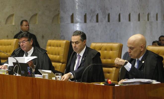 Os ministros do STF Luiz Fux, Luís Roberto Barroso e Alexandre de Moraes (da esquerda para a direita). Barroso foi o único a dar um voto favorável à prática do homeschooling na sessão desta quarta-feira | /