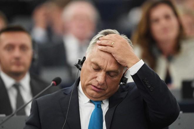 Primeiro-ministro da Hungria, Viktor Orban, durante sessão plenária no Parlamento Europeu em Estrasburgo, em 11 de setembro de 2018 | FREDERICK FLORIN/AFP