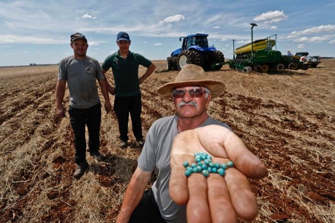Em Santa Bárbara do Sul (RS), o produtor Dari Augusto Baiotto, com os filhos Fabiano e Adriano, correm para terminar de plantar 470 hectares de soja. | Jonathan Campos/Gazeta do Povo
