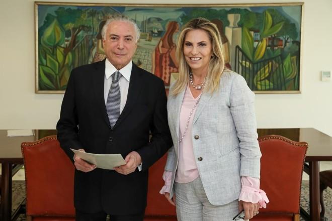 O presidente Michel Temer e a governadora do Paraná, Cida Borghetti, em encontro em Brasília. | Marcos Correa/PR