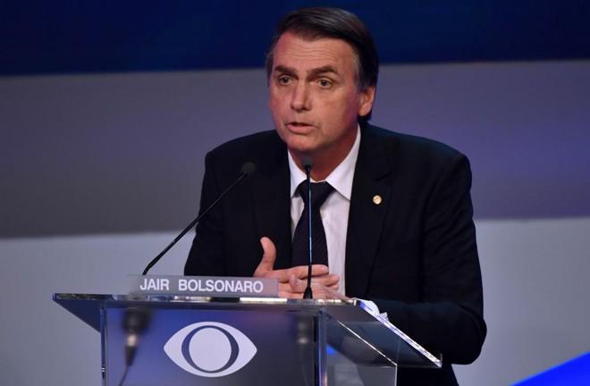 Jair Bolsonaro durante debate na TVBand, no primeiro turno | NELSON ALMEIDA/AFP