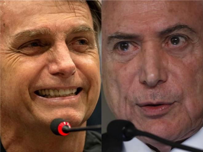 Bolsonaro (lado esq. da foto) quer aprovar pautas relacionadas à segurança ainda em 2018. Temer, medidas econômicas | Mauro Pimentel/AFP e Jonathan Campos/Gazeta do Povo