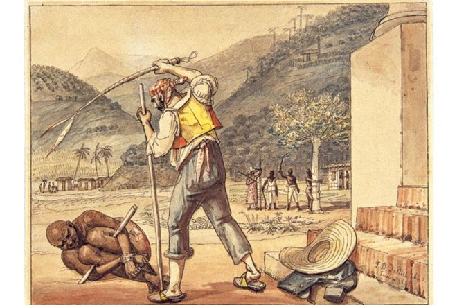 Aquarela de 1828 intitulada 'Feitores açoitando negros na Roça', de Debret, mostra punição comum aos negros escravizados por aqui: o açoitamento amarrado a um pau-de-arara | Reprodução