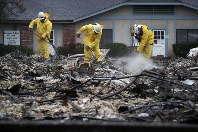 Equipe de resgate vasculha os escombros de um comércio queimado pelo Camp Fire em busca de restos humanos, em Paradise, 21 de novembro | JUSTIN SULLIVAN /AFP