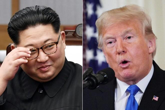O ditador da Coreia do Norte, Kim Jong Un e o presidente americano Donald Trump. A Coreia do Norte está operando pelo menos 13 bases não declaradas para esconder mísseis móveis, um estudo descobriu | KOREA SUMMIT PRESS POOL /AFP