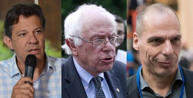 Fernando Haddad, Bernie Sanders, Yanis Varoufakis: representantes da esquerda que reagem ao crescimento dos partidos de direita em diferentes continentes | Reprodução/YouTube