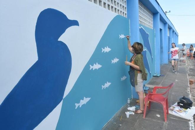 Mural foi pintado por alunos da UFPR e voluntários. | UFPR Litoral/Comunicação