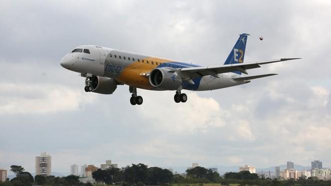 190-E2, aeronave da família de jatos regionais da Embraer E2, que pode ser rebatizada pela Boeing. | Sergio Fujiki/Embraer