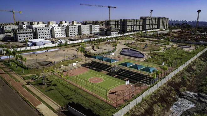 Construção do complexo da MRV Acquaville, em andamento na cidade de Londrina, no Paraná. | Divulgação MRV/