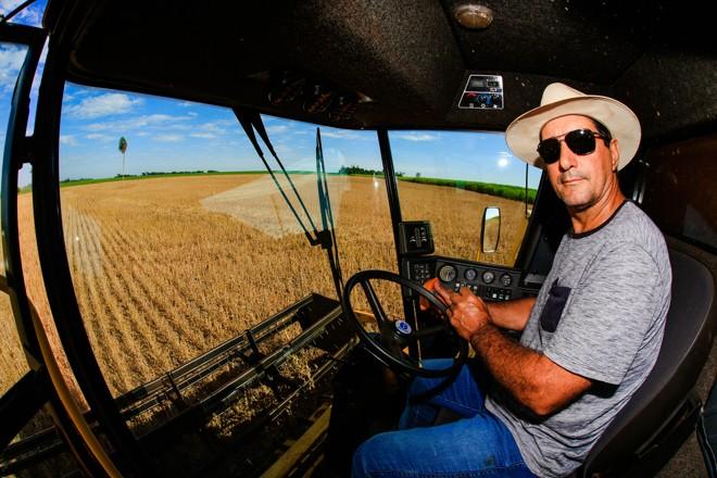 José Pascoal Palharini ainda está colhendo a soja em sua propriedade e não tem previsão de plantar o milho safrinha por causa da falta de chuvas. | Michel Willian/Gazeta do Povo