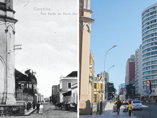 A Rua Barão do Serro Azul no fim da década de 1910 e em 2019. | Acervo Casa da Memória e Cassiano Rosario /Gazeta do Povo