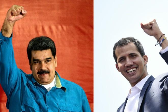 O ditador venezuelano Nicolás Maduro (à esquerda) e o presidente interino da Venezuela, Juan Guaidó | FEDERICO PARRA /AFP