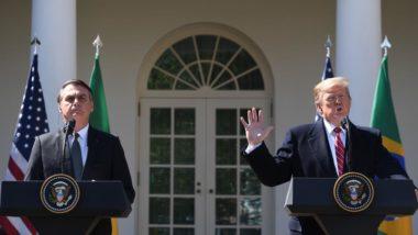 O presidente do Brasil, Jair Bolsonaro, e o presidente americano Donald Trump durante coletiva de imprensa na Casa Branca, 19 de março de 2019. Foto: Kim Watson / AFP