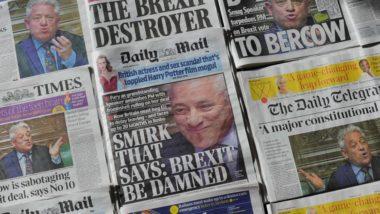 Jornais britânicos desta terça-feira, 19 de março, informam sobre a decisão do presidente da Câmara dos Comuns, John Bercow, de que o acordo de Theresa May para o Brexit não pode ser votado uma terceira vez. Foto: Daniel Sorabji / AFP