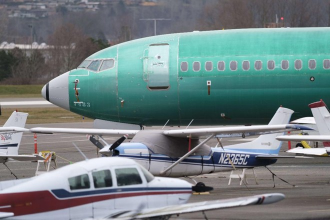 Boeing 737 MAX 8 no aeroporto de Renton, onde fica a fábrica da Boeing   STEPHEN BRASHEAR/AFP