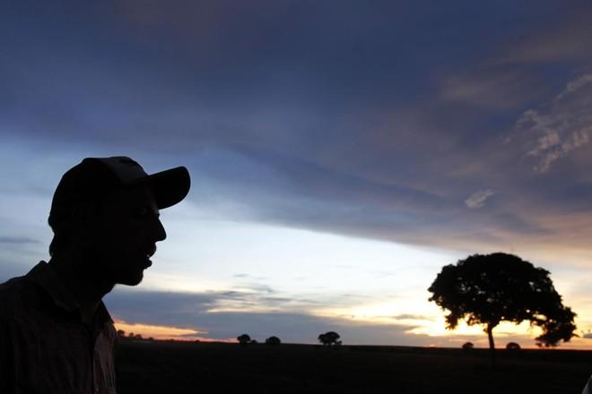 Produtor Bruno Rickli Freire fala à equipe da Expedição Safra durante a colheita do ano passado, no Tocantins | Daniel Caron/Gazeta do Povo